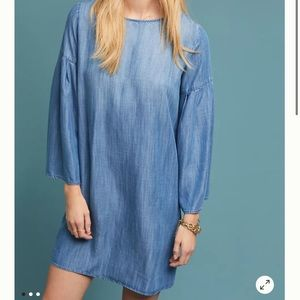 Anthro Cloth & Stone Jean dress w/bell sleeves